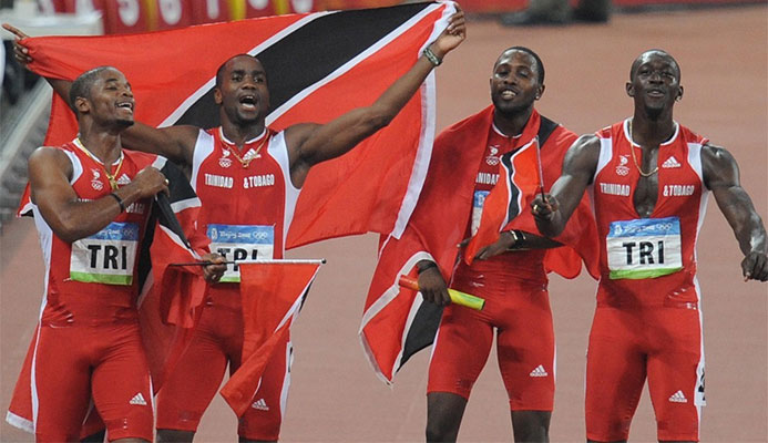 Trinidad and Tobago's Keston Bledman, Emmanuel Callender, Richard Thompson and Marc Burns will not automatically be promoted to the gold medal position at Beijing 2008 following the disquailifcation of Jamaica ©Getty Images