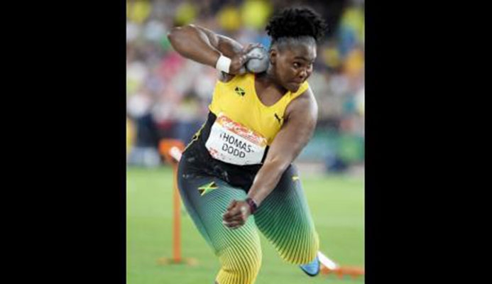 Jamaican Danniel Thomas-Dodd on her way to winning the women Shot Put title with a throw of 19.36m at the Commonwealth Games at the Carrara Stadium recently.