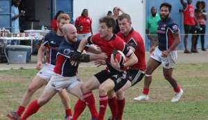Trinidad and Tobago tussle with USA South in a RAN 15s Tournament match last weekend at St Mary's Ground, St Clair. TT won 34-33.