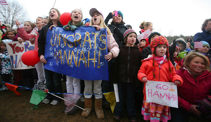 A celebration in Norwich, Vt., Hannah Kearney's hometown, after she won a moguls gold medal at the 2010 Olympics.CreditNicole Bengiveno /The New York Times