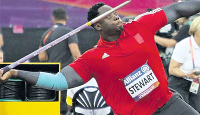 T&T's Akeem Stewart on his way to breaking his own World record to claim gold in the men's F44 javelin at the World Para Athletics Championships yesterday at London's Olympic Stadium in England. PHOTO: MARK DAVIDSON