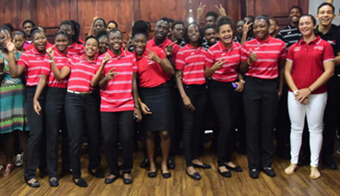 Members of the Trinidad and Tobago team for the sixth Commonwealth Youth Games pose for a picture during a send-off function hosted by the T&T Olympic Committee (TTOC) in the VIP Lounge at the Hasely Crawford Stadium, Port-of-Spain, yesterday. PHOTO: KERWIN PIERRE