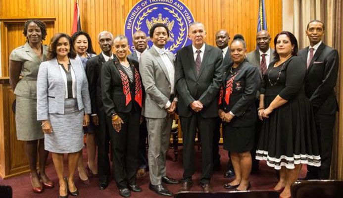 Left to right: Reyah Richardson (Executive member), Giselle La Ronde-West (Executive Member), Racquel Moses (Trustee), Dr. Terry Ali (Vice President), Diane Henderson (Vice President), Ephraim Serrette (Vice President), Brian Lewis (President), His Excellency Anthony Carmona, Curtis Nero (Treasurer), Annette Knott (Secretary General), Dave Williams (Trustee), Nadine Seemongal (Assistant Secretary General), Wendell Constantine (Executive Member).