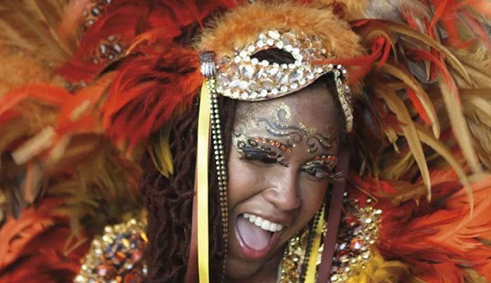 A sassy Trinidad Carnival masquerader in costume. Photo by Stephen Broadbridge