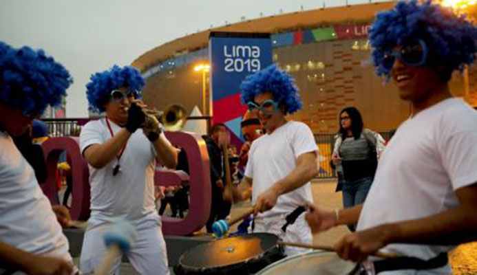 Musicians perform outside Peru's National Stadium during the closing ceremony of the Pan American Games in Lima on Sunday, August 11.
