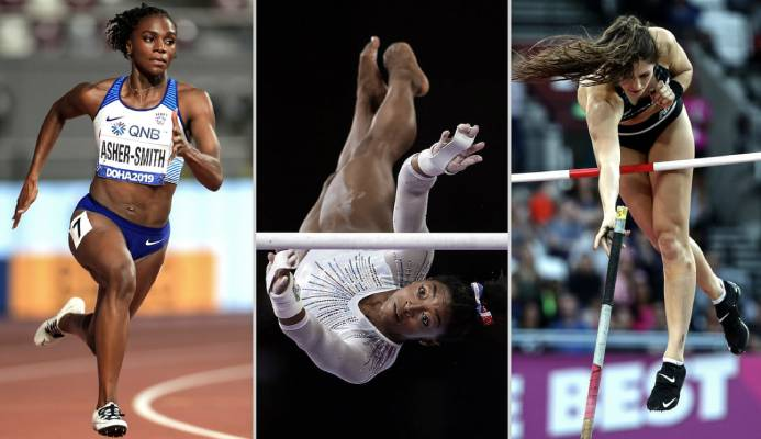 Dina Asher-Smith, Simone Biles and Eliza McCartney will expect to be among the medals in Tokyo. Photograph: EPA, Getty Images and PA