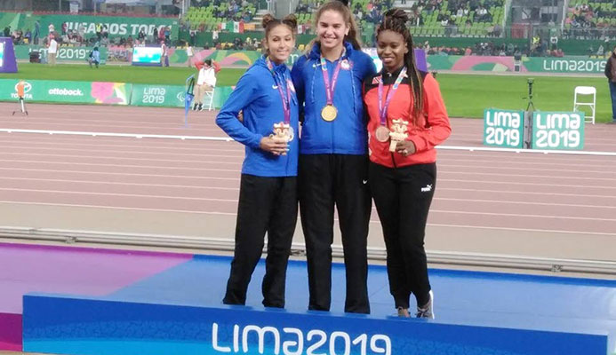 (Left to right) Sydney Barta and Beatriz Hatz and Nyoshia Cain-Claxton pose with their medals after the women's 200-metre final at the Parapan American Games in Lima, Peru on Sunday. Photo source, Facebook page of Nyoshia Cain-Claxton