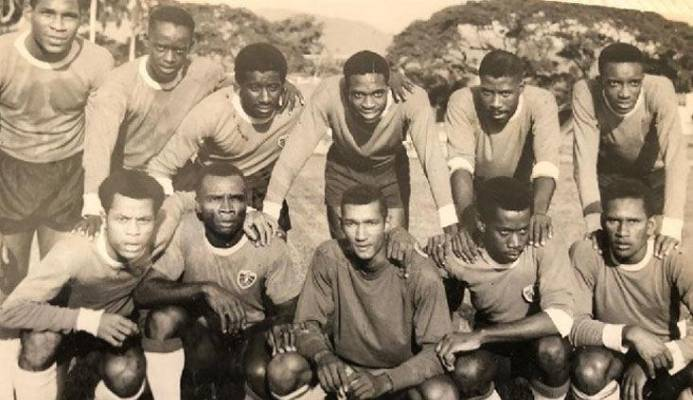 WHEN FOOTBALL RULED: The Paragon team that defeated Malvern on the St Mary's College ground for the Port of Spain Cup in 1968. At centre, front row, is goalie Gerald Figeroux. Gally Cummings is third from left, back row.