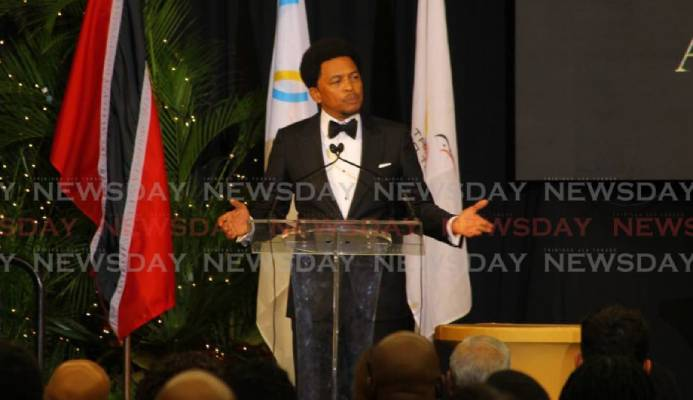 TT Olympic Committee (TTOC) president Brian Lewis delivers his address at the annual TTOC awards on Sunday. PHOTO BY ROGER JACOB - ROGER JACOB