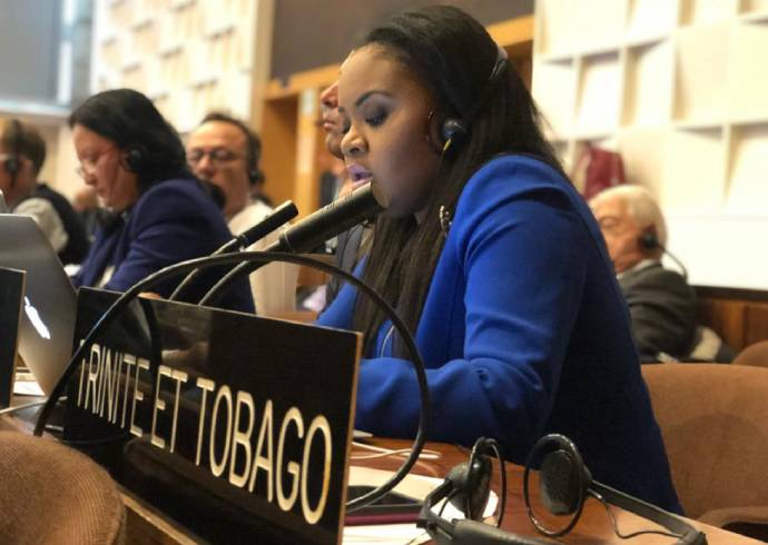 Hon. Shamfa Cudjoe, T&T Minister of Sports & Youth Affairs addressing the 7th UNESCO COP in Paris, France.