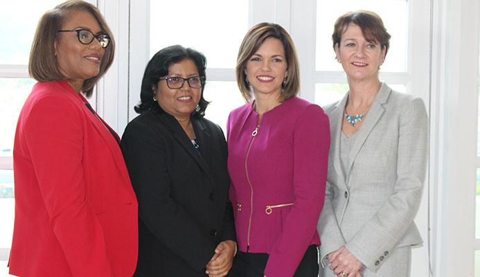 From left, BPTT's managing counsel Wendy Fae Thompson, regional director for procurement and supply chain management Camille Boodhai-Kangal, vice president for corporate operations Giselle Thompson, and regional president Claire Fitzpatrick,