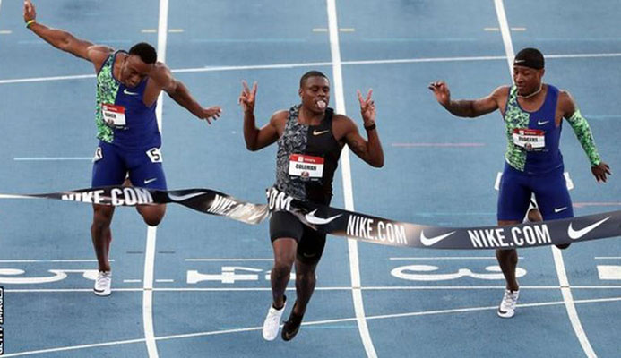 Christian Coleman won the men's 100m at the US National Championships last month