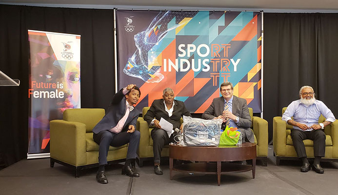 TTOC president Brian Lewis, from left, journalist/moderator Franka Philip, feature speaker Dale Neuberger, Dr Anand Rampersad present during a panel discussion at the TTOC's Sport Industry TT Conference at the Hyatt Regency in Port-of-Spain, yesterday.
