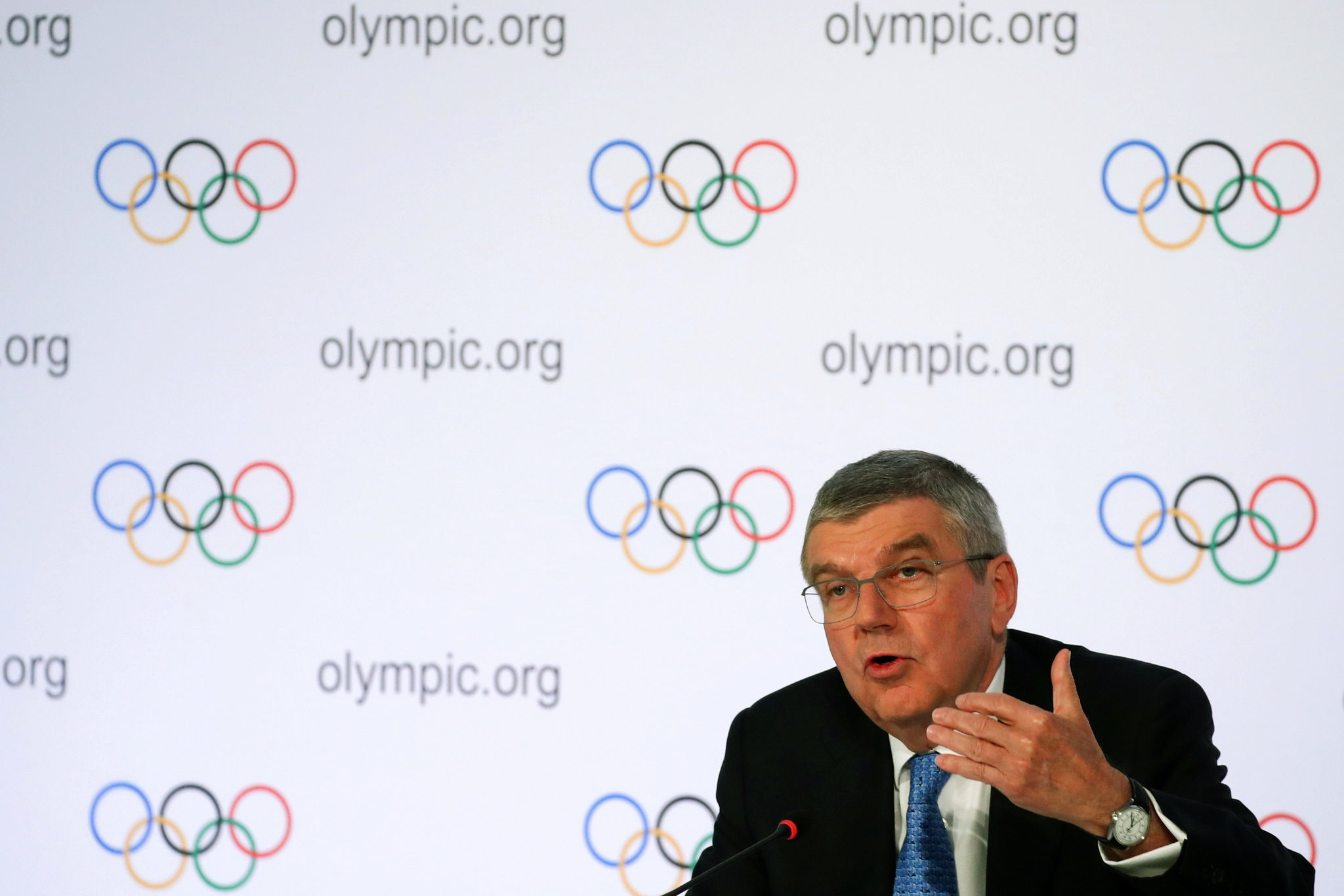 Thomas Bach, the I.O.C. president, has said that canceling the Tokyo Games is not an option.Credit...Denis Balibouse/Reuters