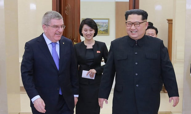 Thomas Bach, the president of the IOC, with Kim Jong-un. North Korea resumed missile testing six months after the Pyeongchang Winter Olympics. Photograph: KCNA/EPA
