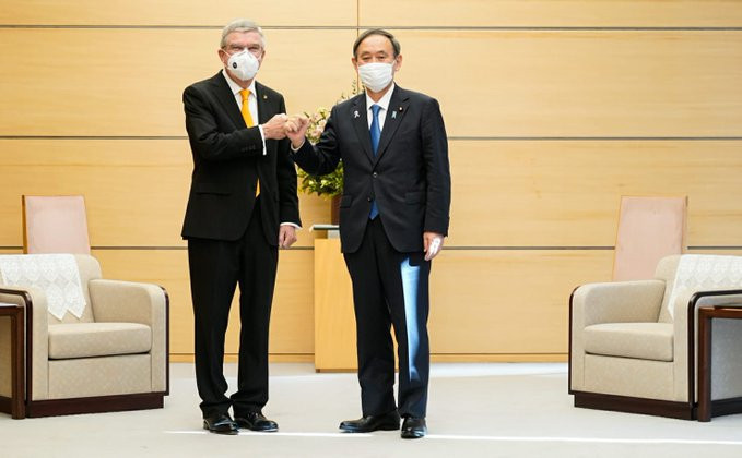 IOC President Thomas Bach met Japanese Prime Minister Yoshihide Suga in Tokyo today ©IOC