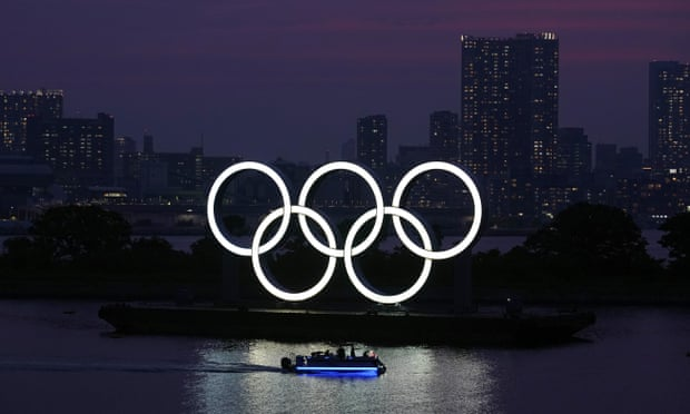 The Olympic rings in Tokyo last summer. The Games have been pushed back a year and are due to start on 23 July 2021. Photograph: Eugene Hoshiko/AP